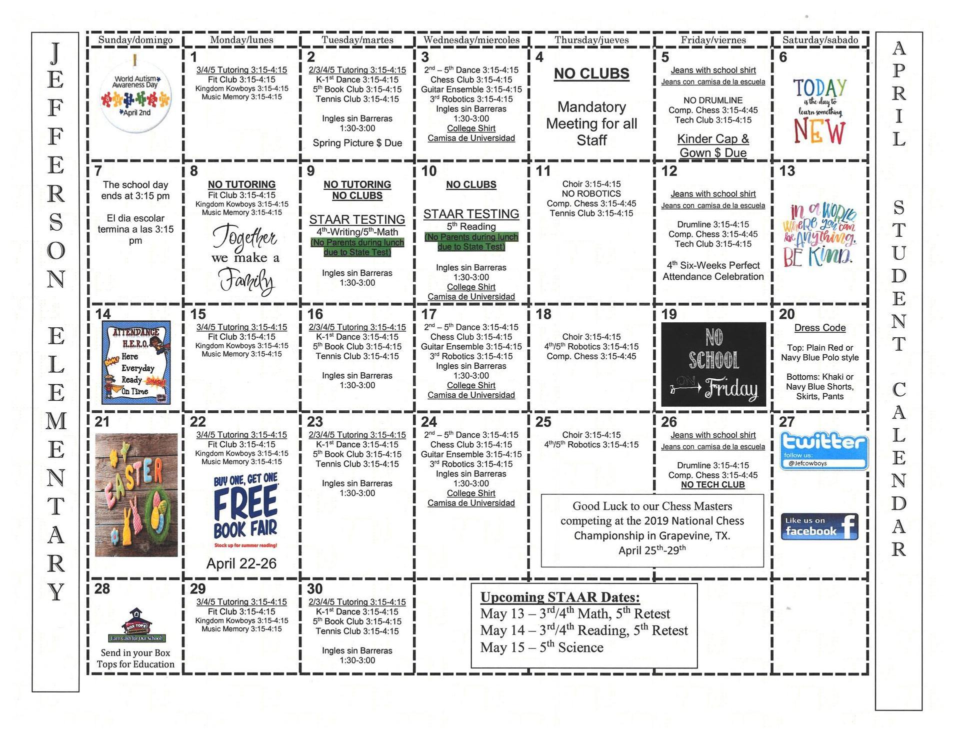 April Student Calendar