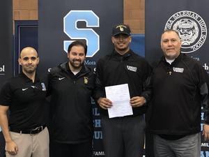 (L-R) Tommy Loera - Athletic Director, Robert Burke - Guidance Director, Luis Ramirez '19, David Sifuentes - Baseball Coach