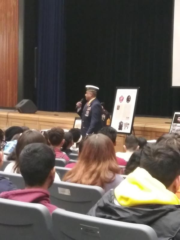 A Marine who served for 35 years in the 1970s to 1990s gave a presentation about the Montford Point Marines