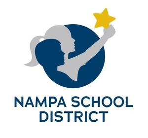 Nampa School District log showing a boy and girl holding up a star.