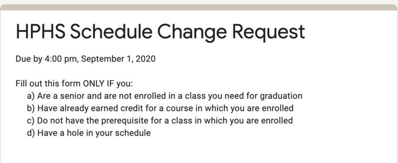 Schedule Change Request Form Available Available Now Through Sept. 1 Featured Photo