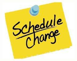 Yellow sticky note with Schedule Change