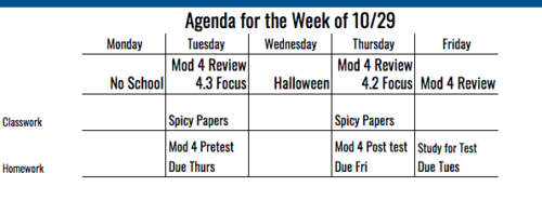 8th Grade Agenda for Week of 10/29