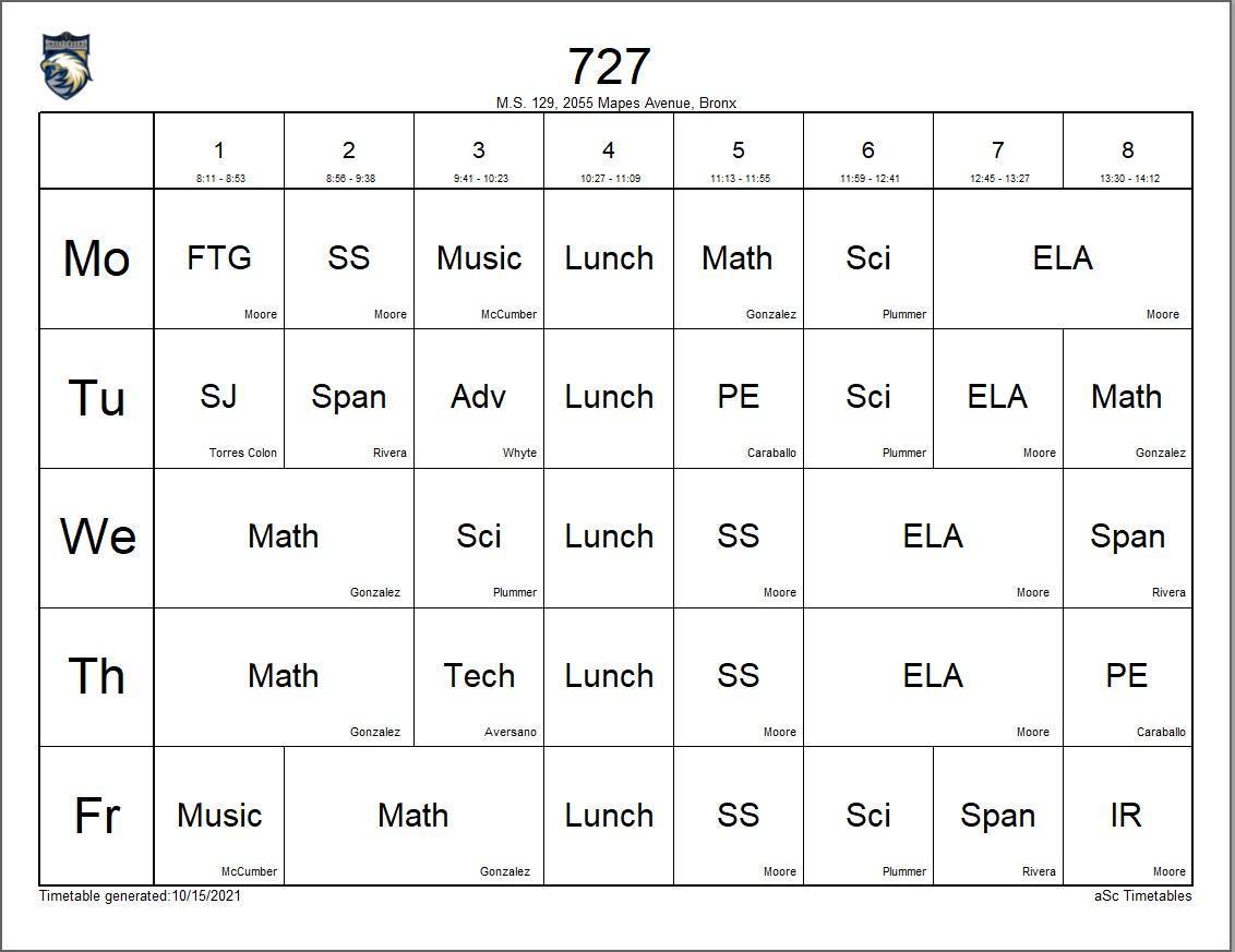727 class schedule