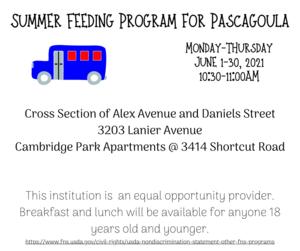 summer feeding for Pascagoula