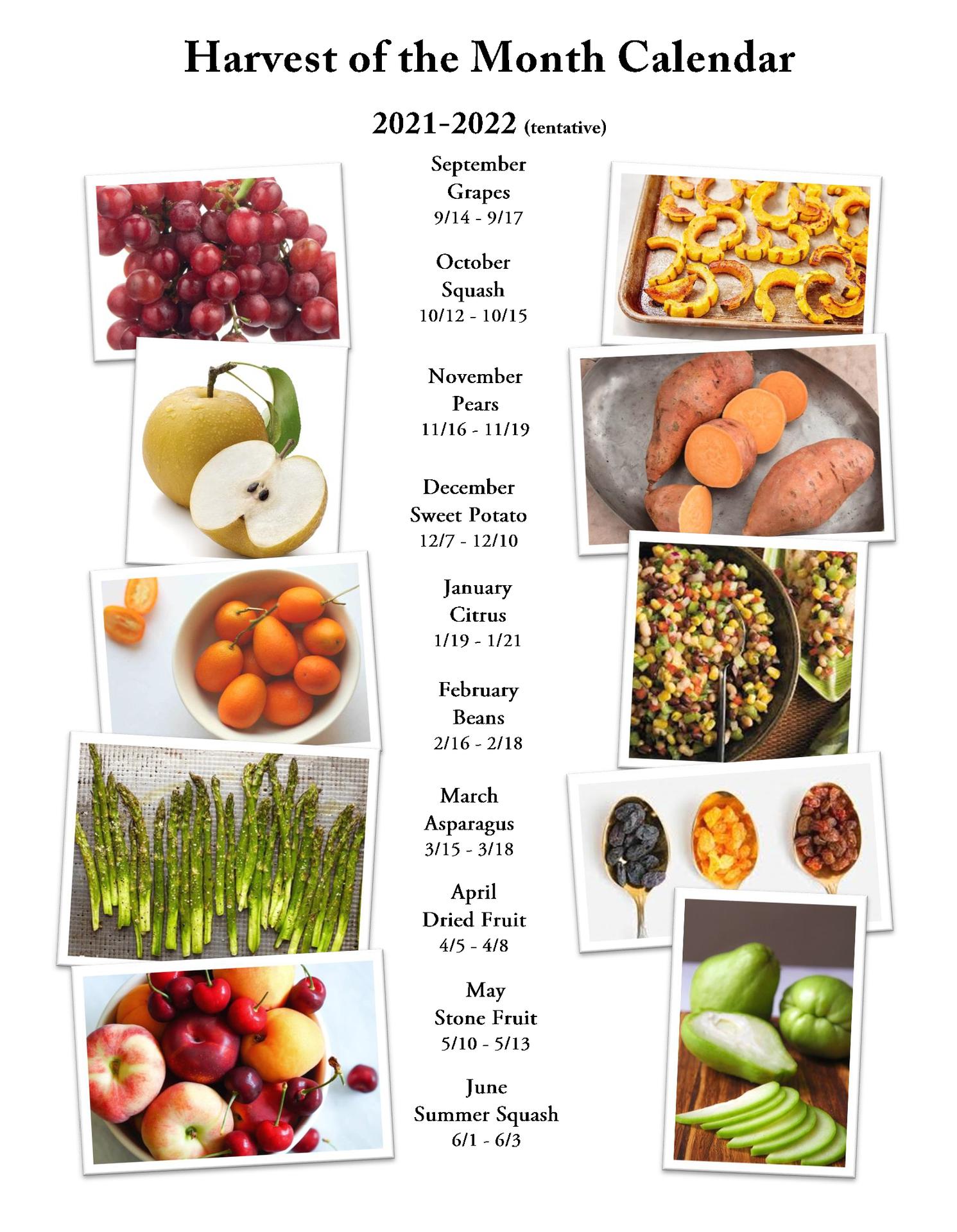 Harvest of the Month Calendar 2021-22