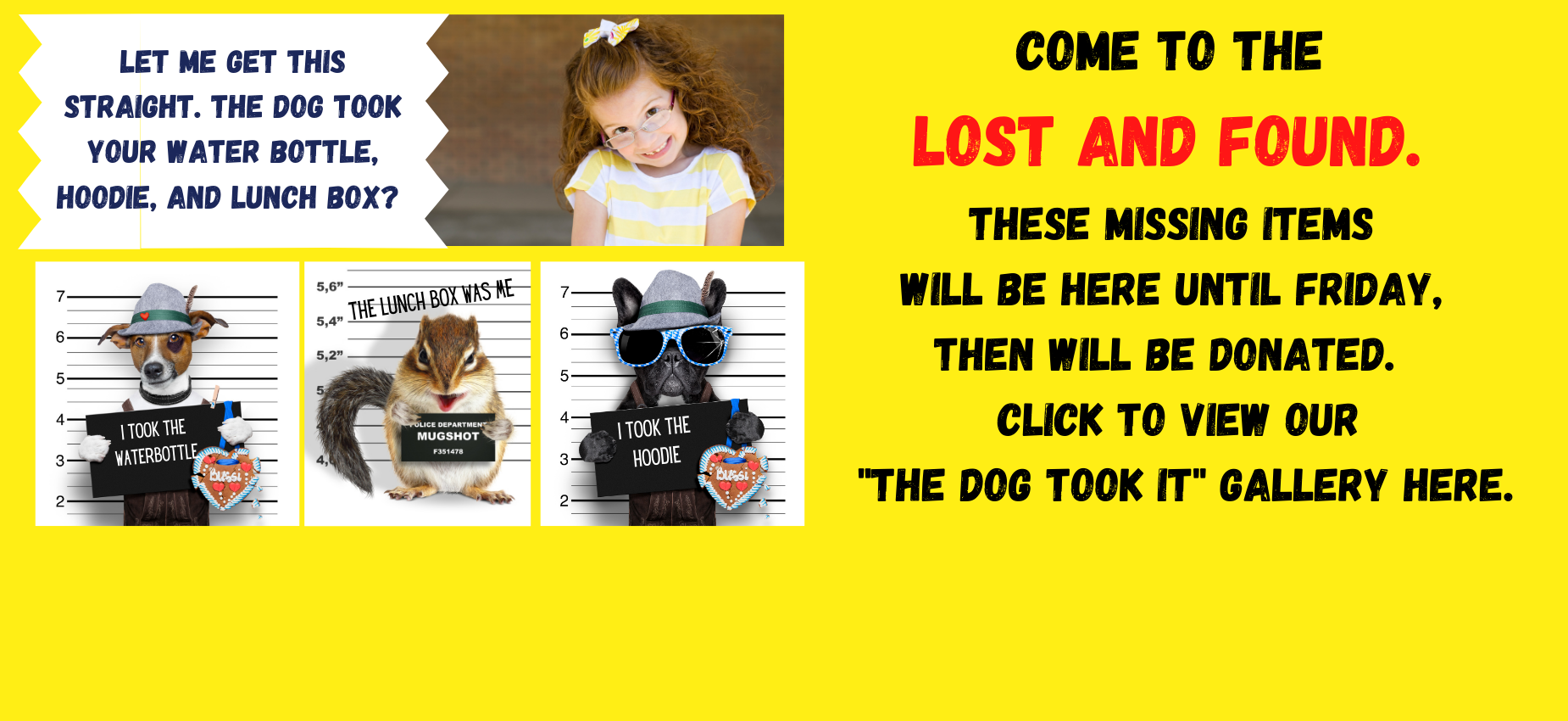 lost and found will be donated Friday, April 9th.