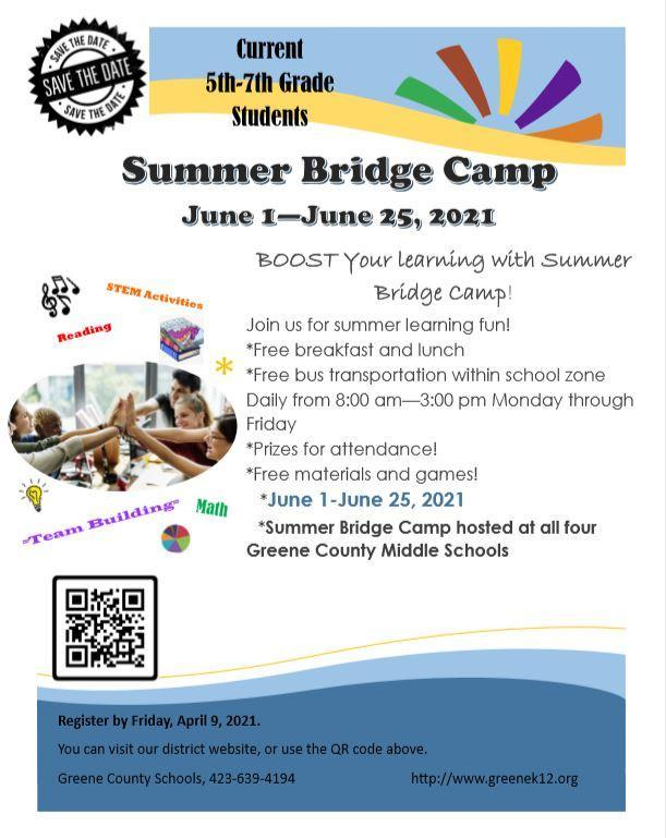 Summer Bridge Camp June 1-25, 2021 - Free meals, transportation, materials, and prizes!