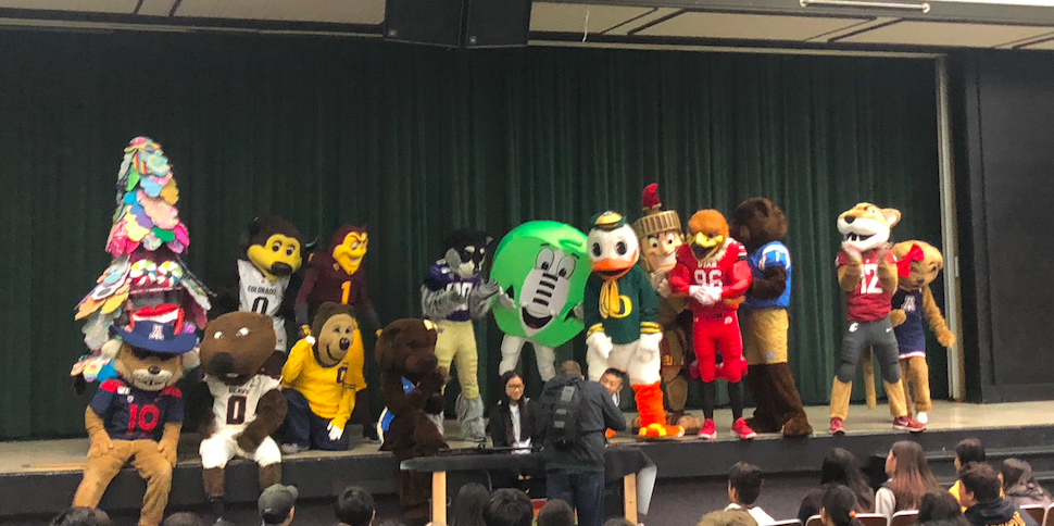 Pac12 mascots on stage at Yerba Buena.
