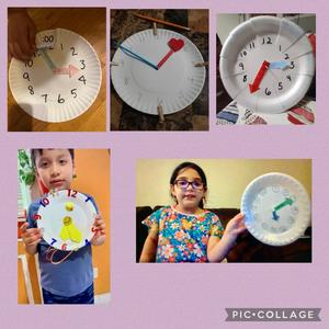 5 paper plate clocks in collage