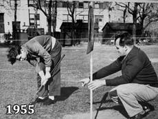 1955 Photo of golf on campus. NYI is reviving the sport of golf for our students this Spring.