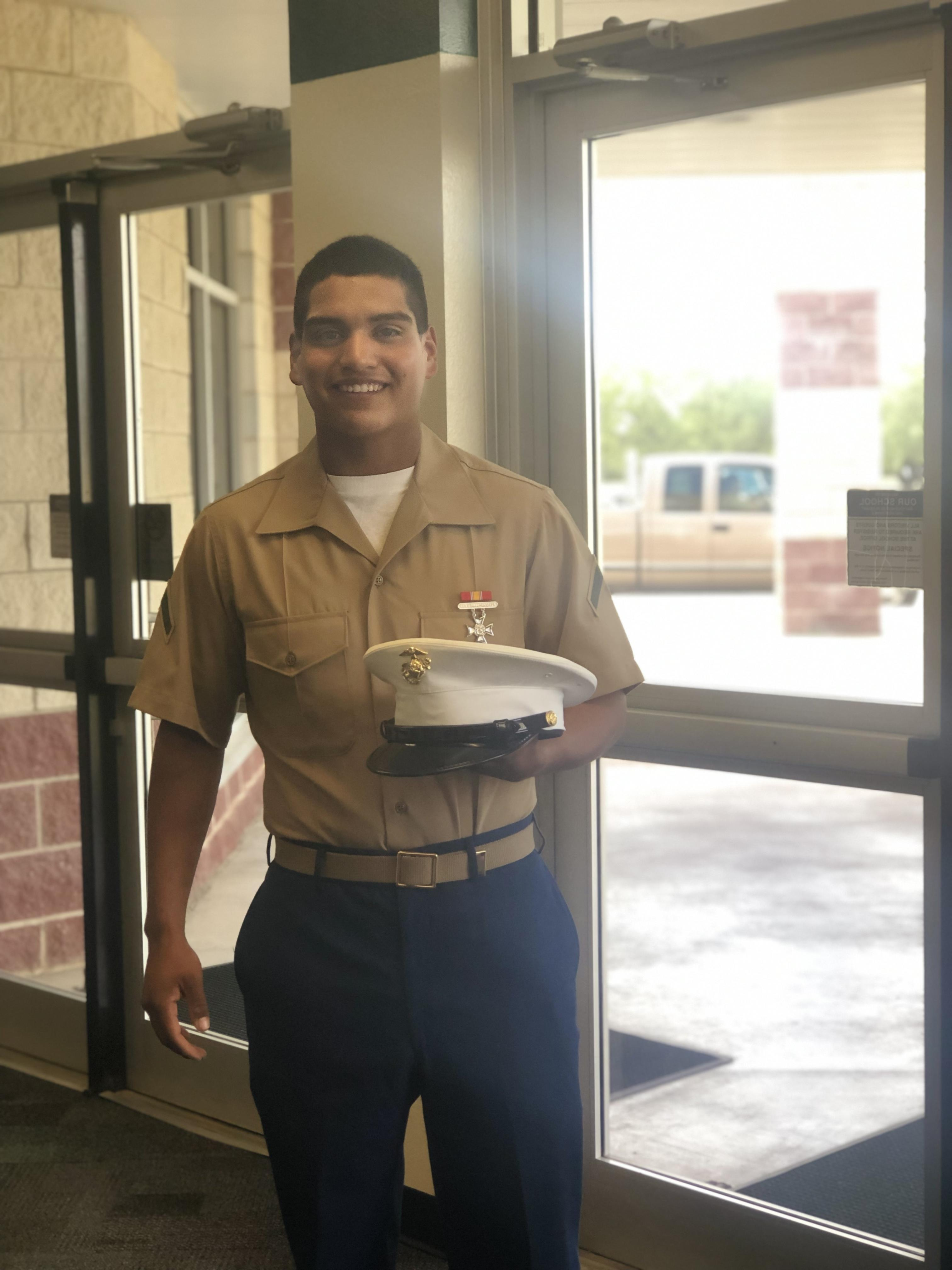 Picture of Gio Guevara, former GCISD graduate, who recently graduated from the United States Marine Corp.