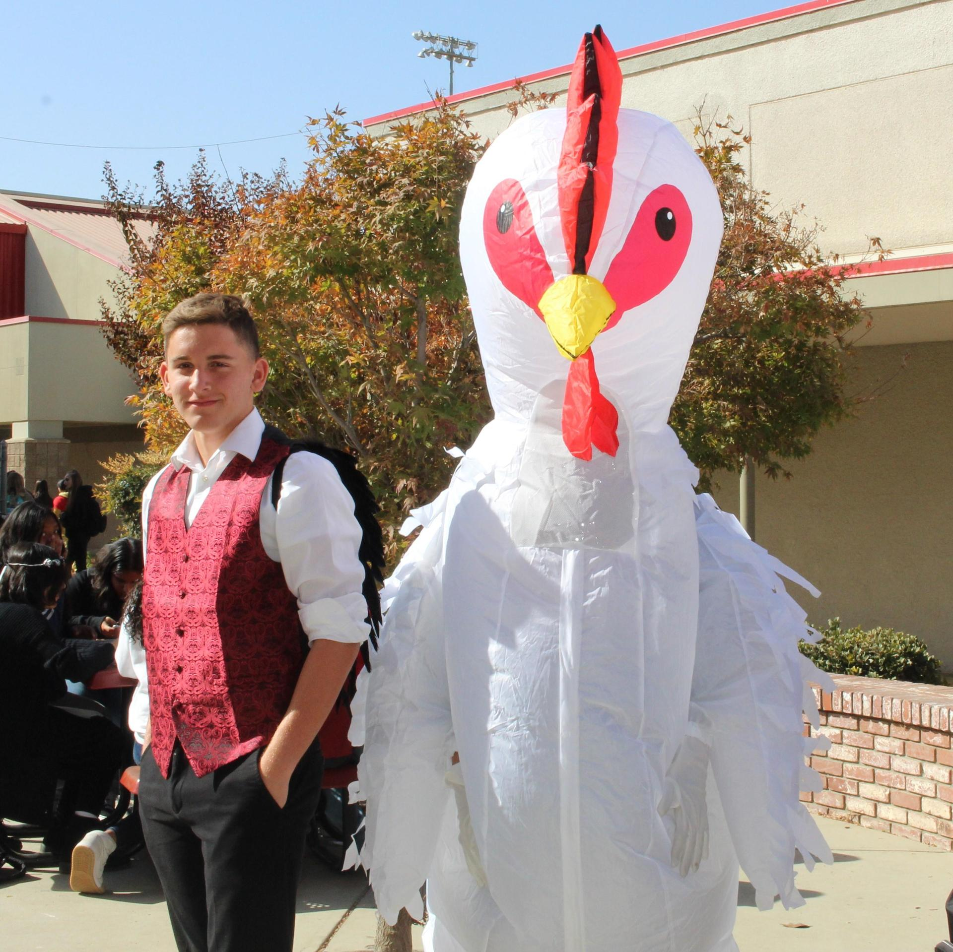 Gavin Celedon as a vampire and Roman Mendez as a chicken