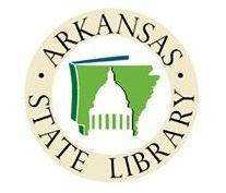 Arkansas State Library logo, state outline in green and embossed capitol on front