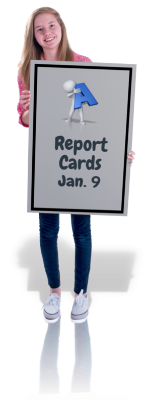 girl holding sign that says report cards