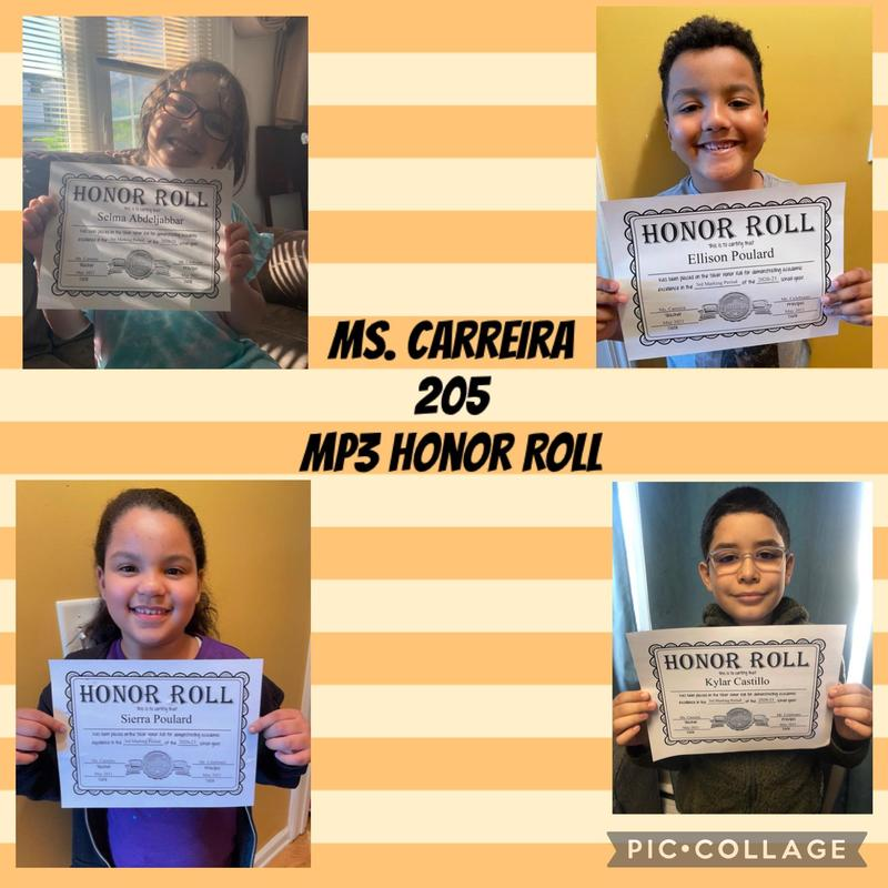 Room 205 Honor Roll Students collage