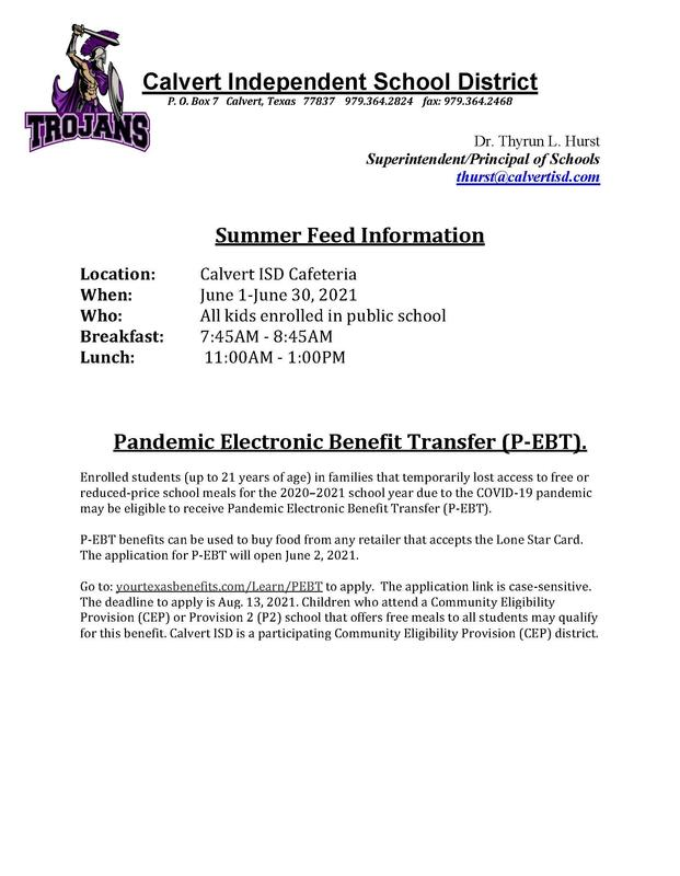 Summer Feed Information/ Pandemic Electronic Benefit Transfer (P-EBT) Featured Photo