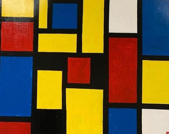 Student Art Project Inspired by Piet Mondrian