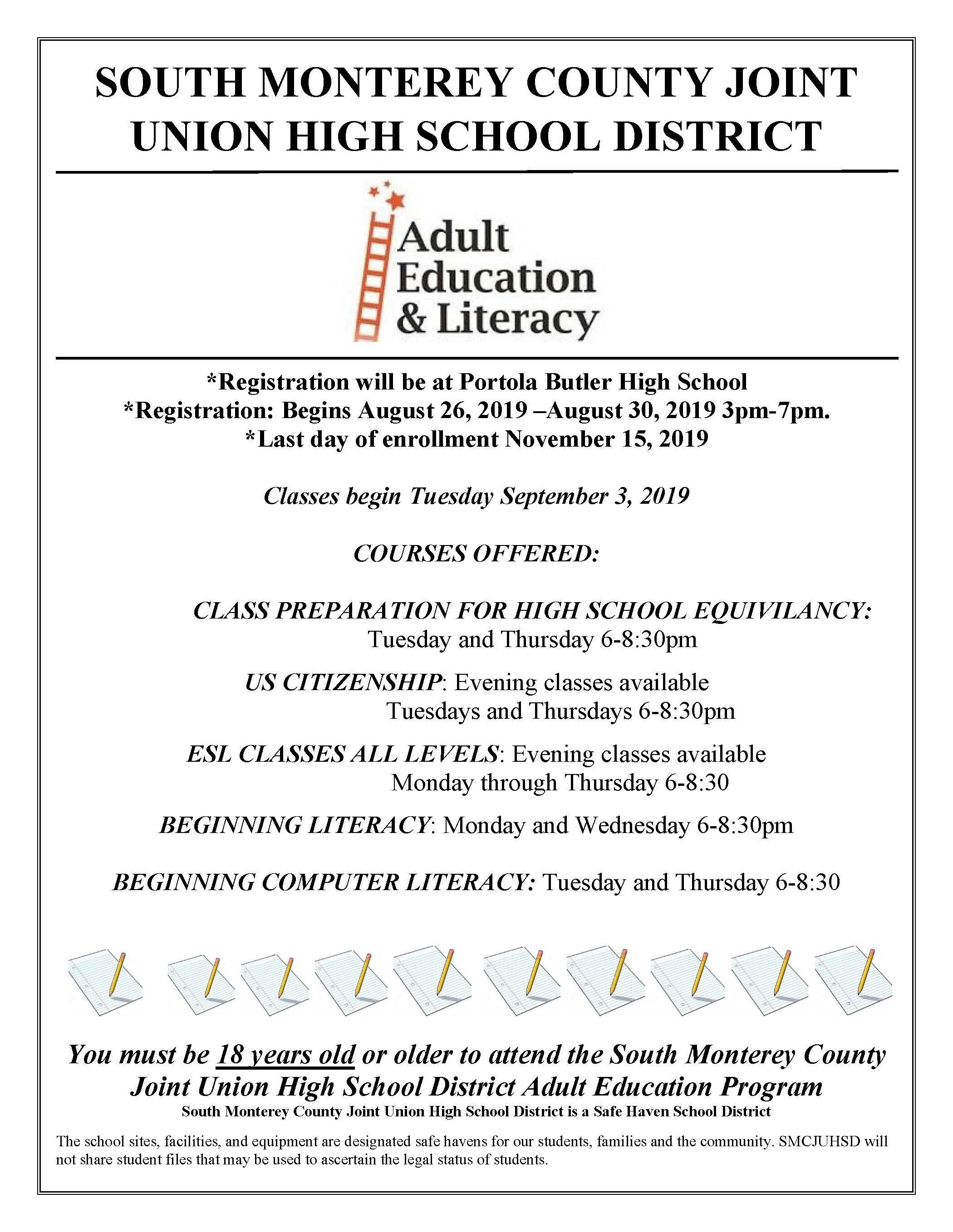 Adult School Information Flyer