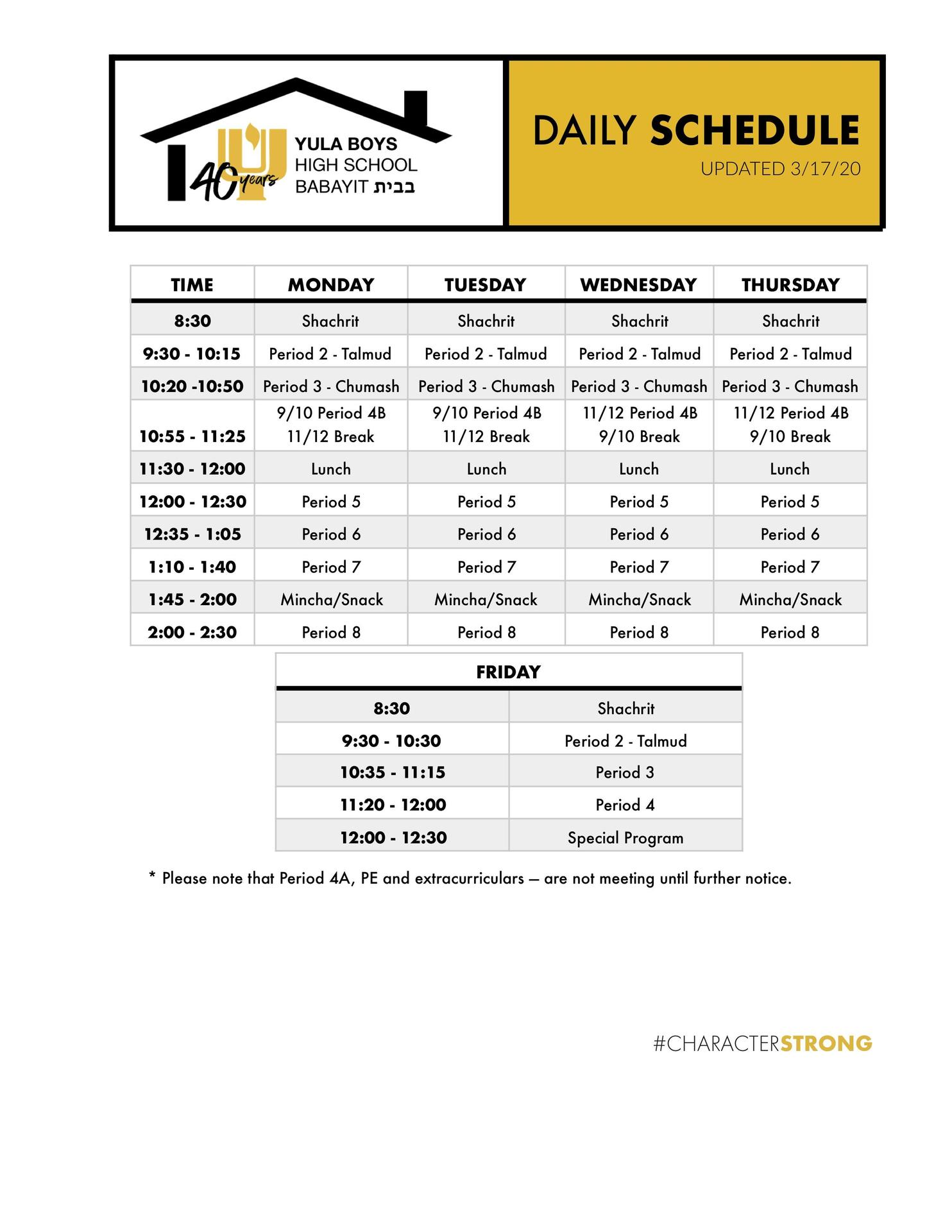 Babayit Schedule
