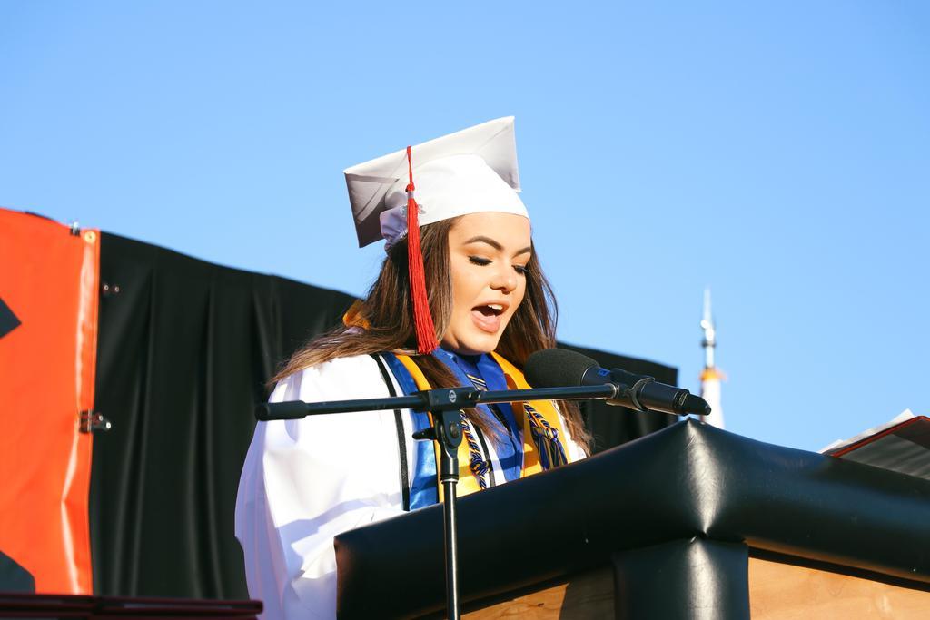 Class of 2019 Valedictorian Jade Moreno speaks on stage