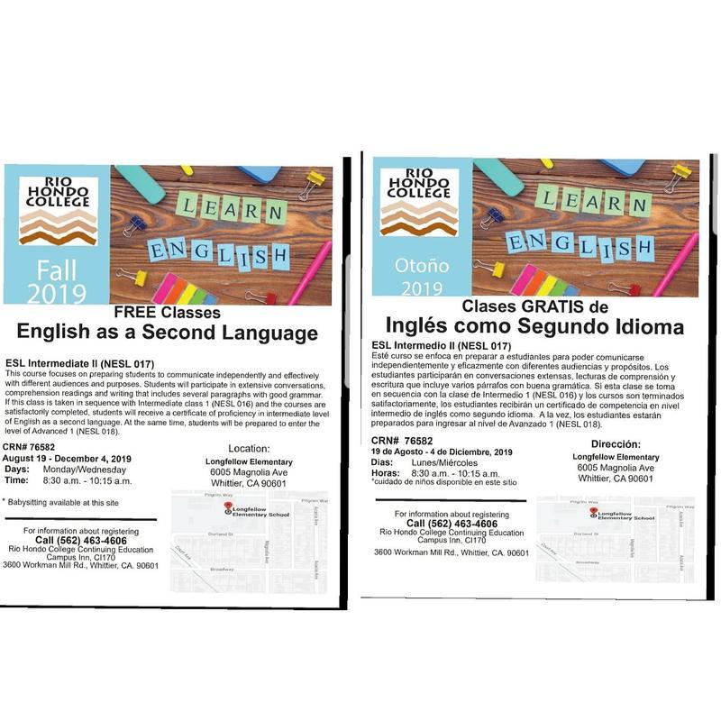Longfellow will be offering ESL classes.