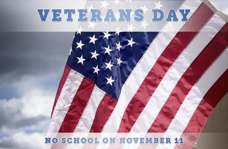 Veterans Day on November 11 (No School)