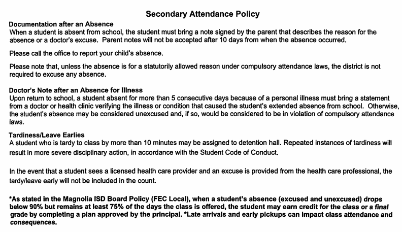 Attendance rules
