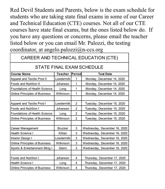 CTE Exam Schedule