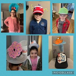 Students wearing crazy hats collage