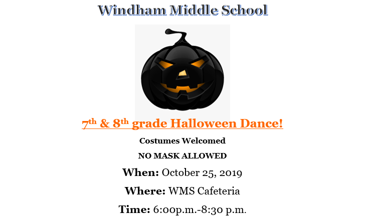 7th & 8th Grade Halloween Dance October 25, 2019 Thumbnail Image