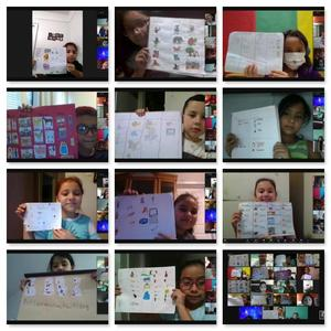 Collage of students holding up their noun charts