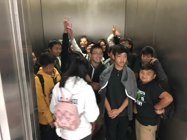 CCA students at SJSU, crowding into an elevator.