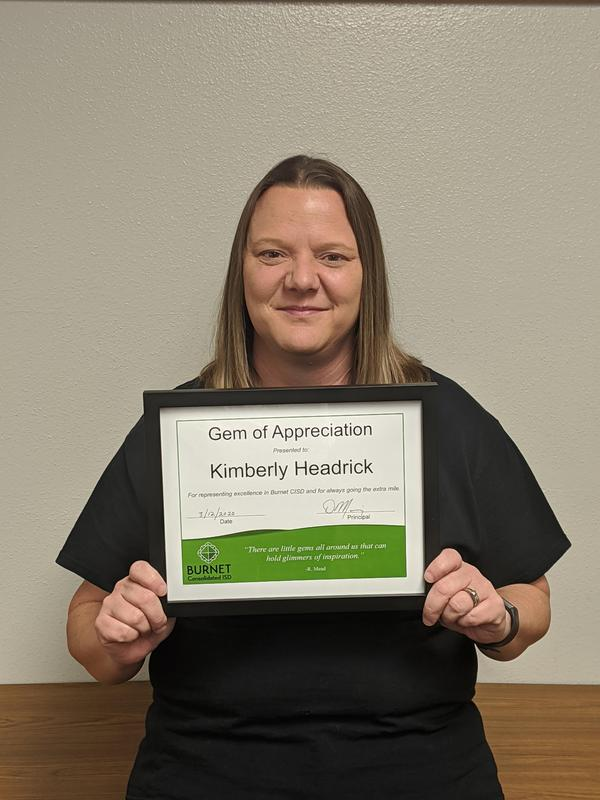Congratulations to Kim Headrick - QHS GEM of Appreciation! Thumbnail Image