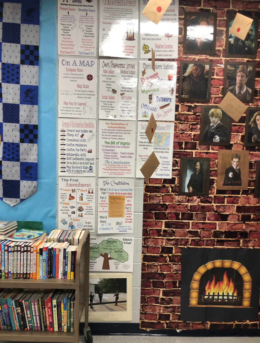 Next to the fireplace are some social studies posters to help with what we will be learning this year. A good place to look for review.