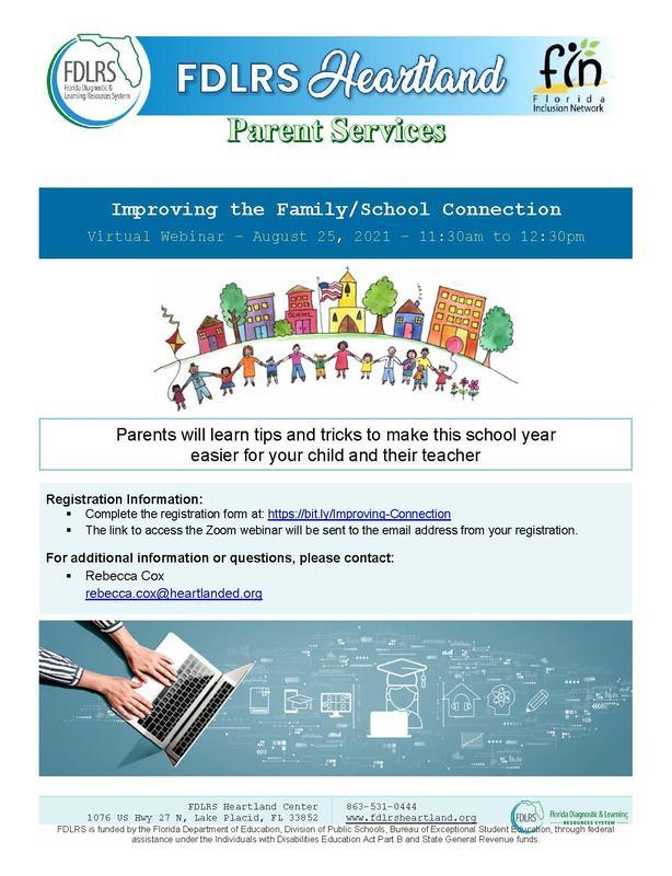 FDLRS Parent Services Webinar Flyer