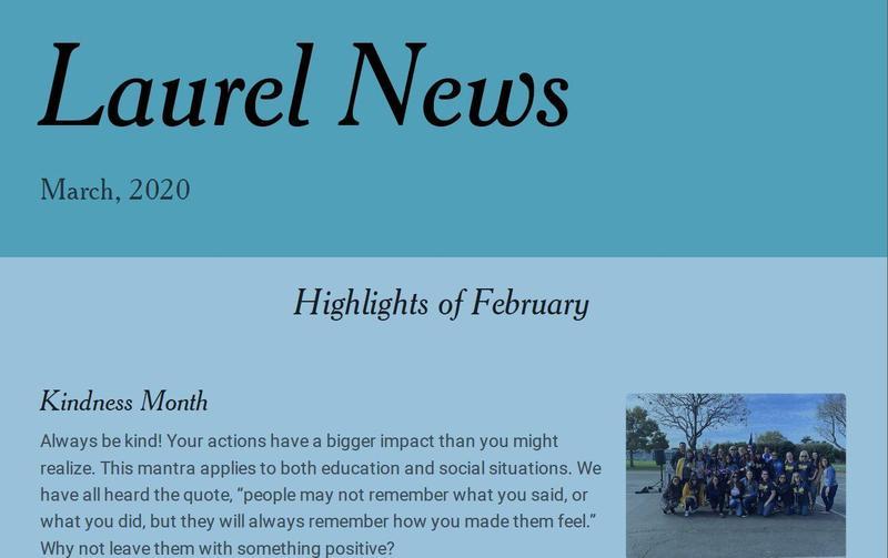 Screenshot of the Laurel News March 2020 Highlights Newsletter.