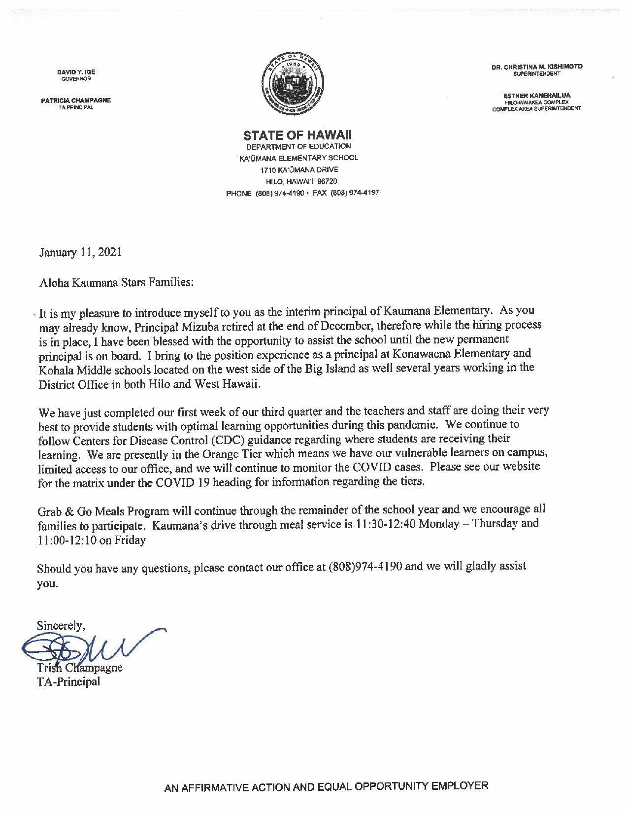 January 11, 2021 - Letter from Principal
