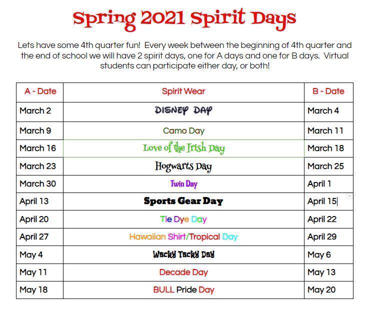 SSMS Spring Spirit Days Featured Photo