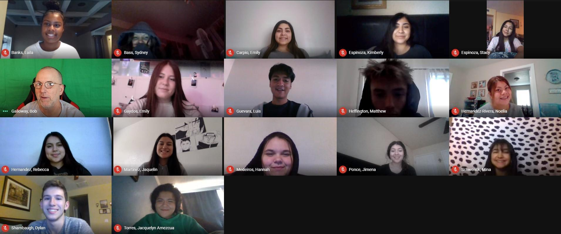 the 2020 2021 Yearbook staff posing during distance learning
