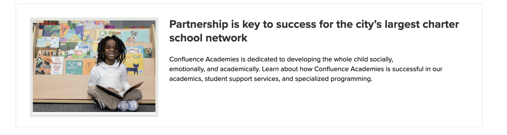 confluence academies partnership success