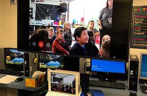 Students participating in mystery facetime