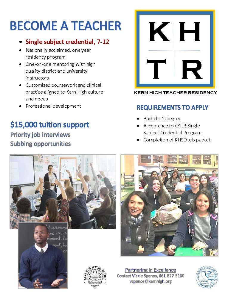 Information regarding the Kern High Teacher Residency program