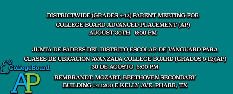 District-Wide Parent Meeting for Advanced Placement (9-12)    Junta de Padres para las Classes de ubicacion avanzada (9-12) Featured Photo
