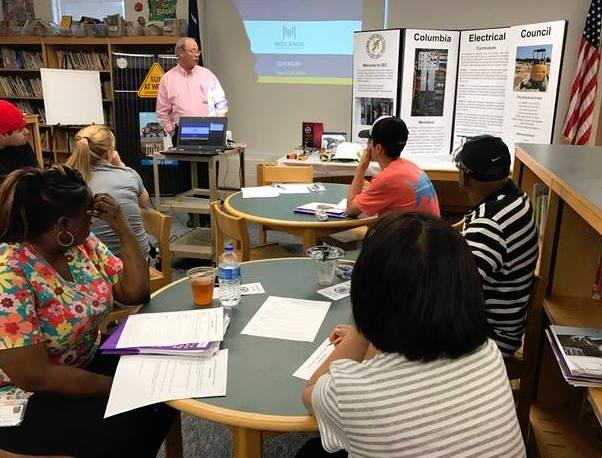 Eugene Gunter, project manager for Carroll Electric Service, was a featured speaker at one of Lexington Two's Supper and Share sessions in the adult education program.