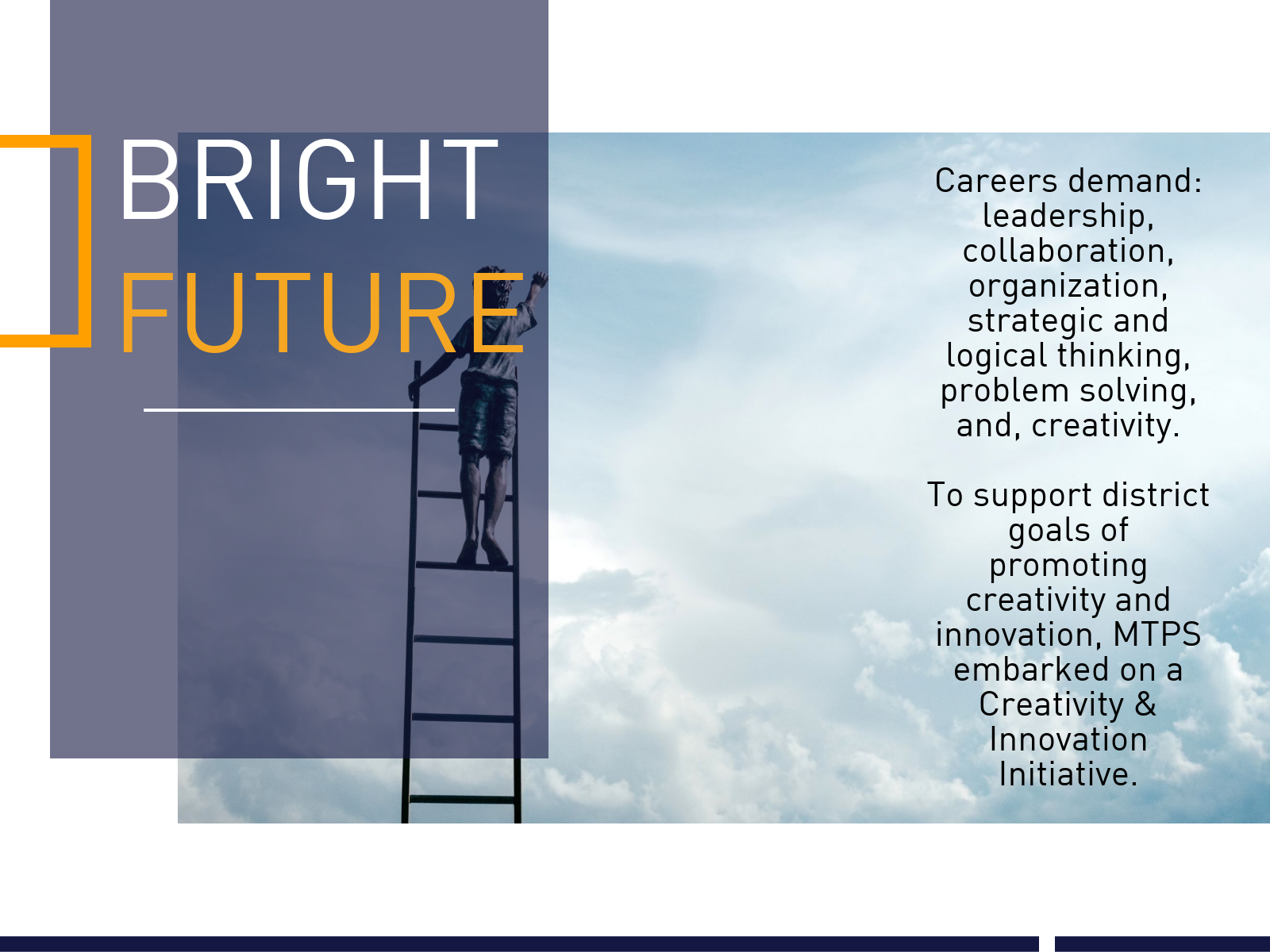 Bright Future: Figure standing on ladder looking into sky.