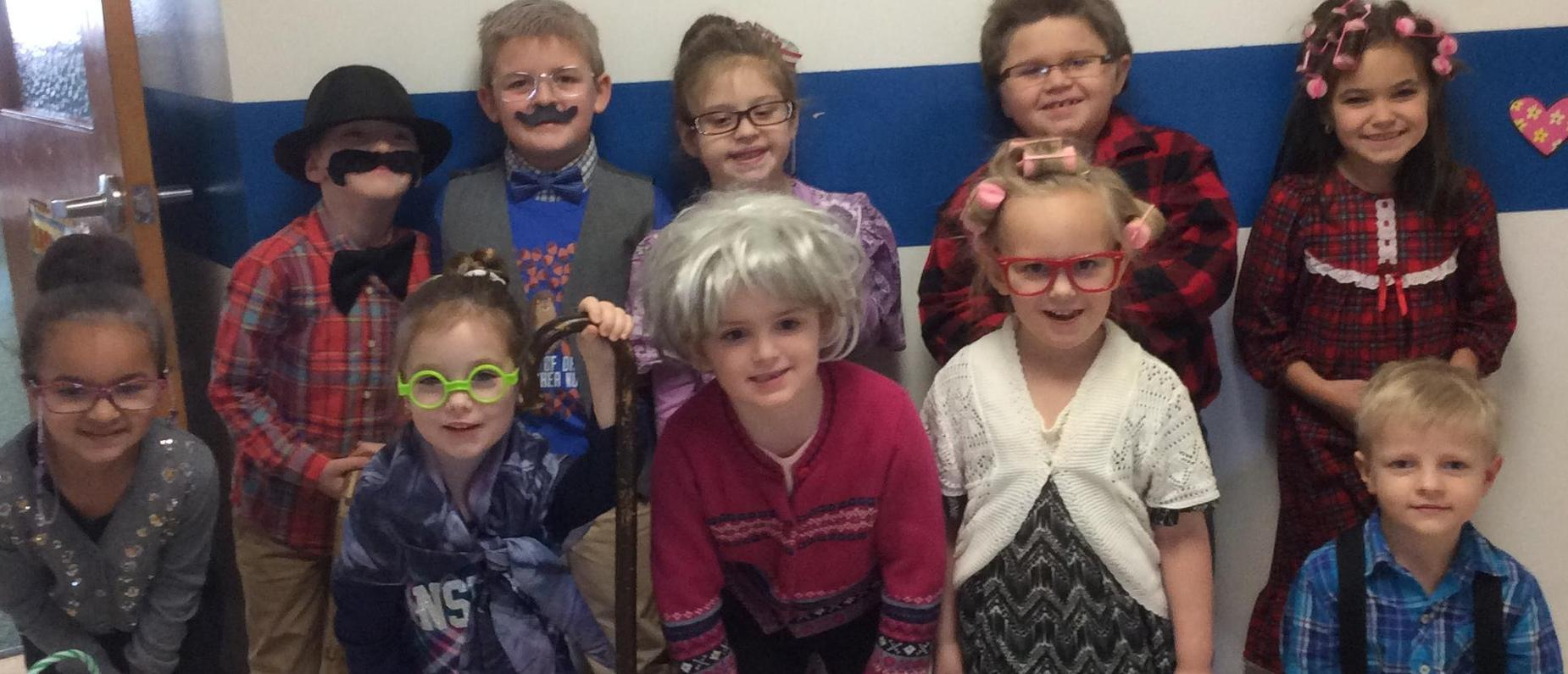 Picture of students dressed up for Halloween