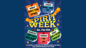 Carrollton Elementary School's Spirit Week: Oct. 21st-25th. Monday--Sports Team Apparel, Tuesday--Wacky Tacky Day, Wednesday--Unity Day (wear orange), Thursday--Twin Day, Friday--Blue & Yellow Packer Day. As future Packers, Carrollton Elementary will be participating in a spirit week to support the Smithfield High School Packers. Go SHS!