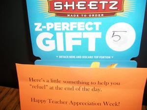 A gift card for Teacher Appreciation Week.