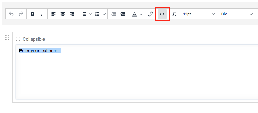 screenshot of source code button selected